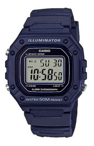 Reloj Hombre Casio W-218h-2av Azul Iluminator / Lhua Store