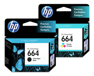 Pack 2 Tinta Original Hp 664 Negro Y Color F6v28al F6v29al