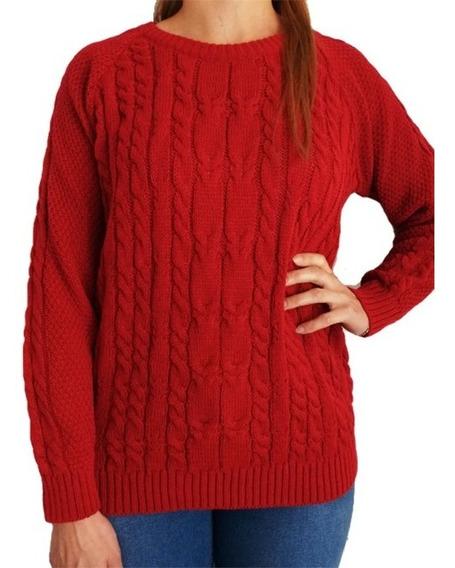 Sweater Mujer Importado Trenzado Cuello Redondo Liso Xl