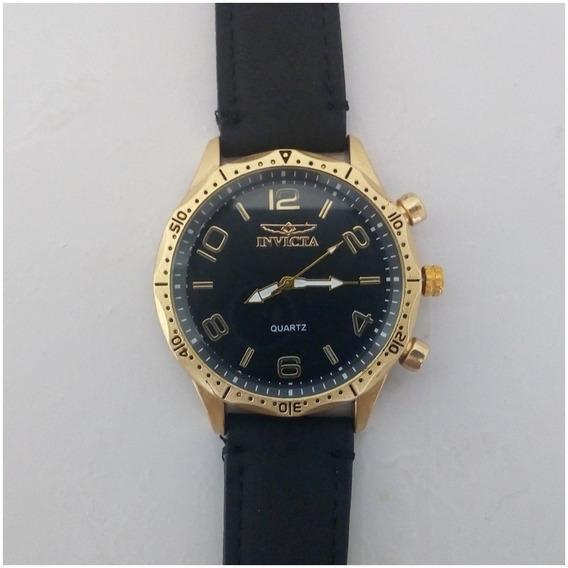 Relógio Masculino Dourado Preto Barato + Caixinha 12x Sem Juros