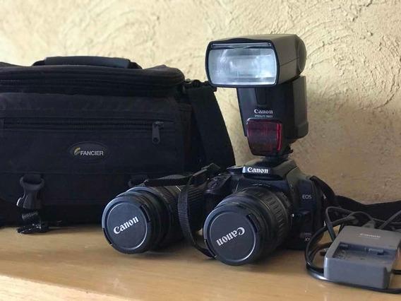 Câmera Canon Eos Digital Rebel Xti + Kit C/ Lentes E Flash