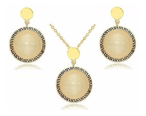 Conjunto Colar + Brinco Círculo Dourado Pedra Leitosa C156
