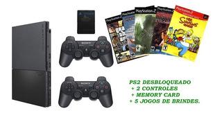 Playstation2 + Memorycard +2 Controles + 5 Jogos