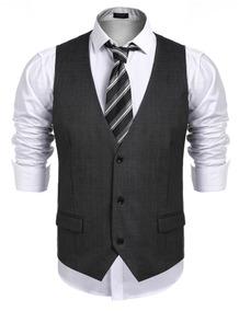 Homens Botão De Negócio Fino Fit Terno Vestido Colete Cole