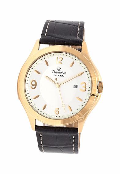Relógio Champion Steel Dourado Pulseira De Couro Masculino