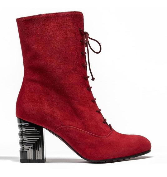 Zapato Vestir Mujer Ante Y Textil Botín Prada Mx