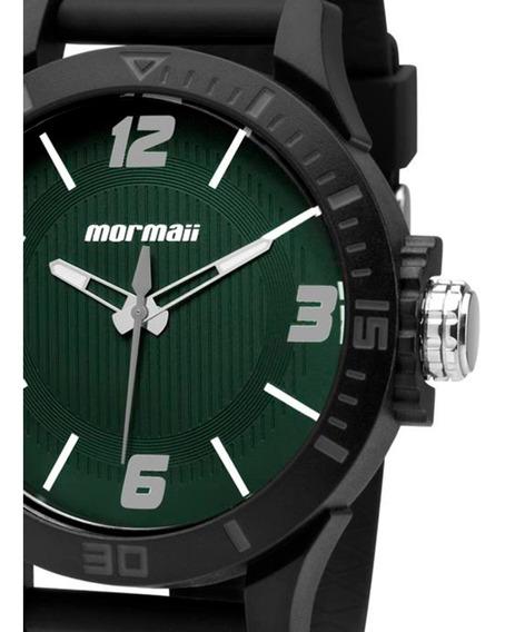 Relógio Masculino Mormaii Mo2035fl/8v Borracha Preto Verde Original