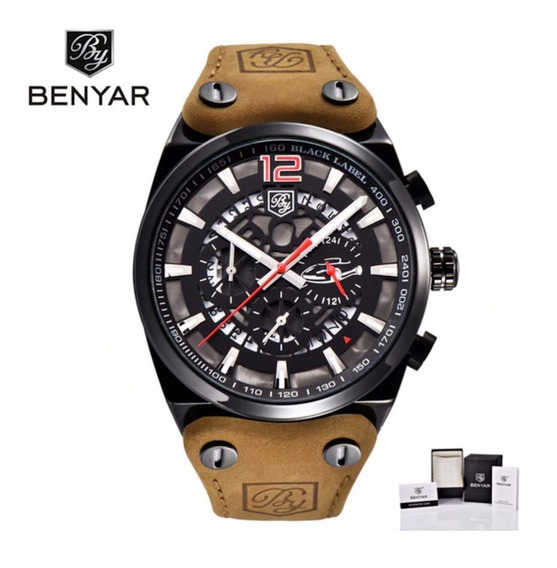Relógio Masculino Benyar Original Aviador Militar Preto Luxo