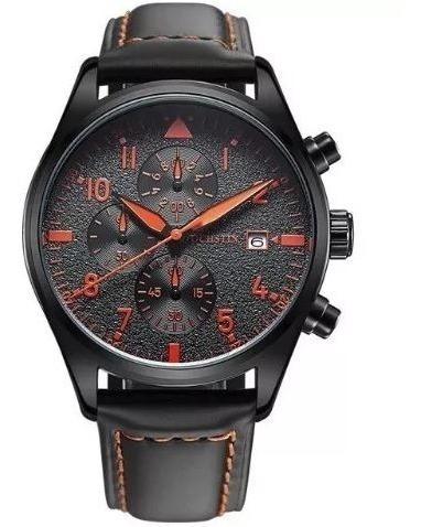 Relógio Ochstin Inox Quartzo Prova Água Masculino Couro Lind