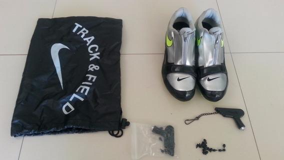 Zapatillas De Atletismo C/clavos. Plateadas Y Negras