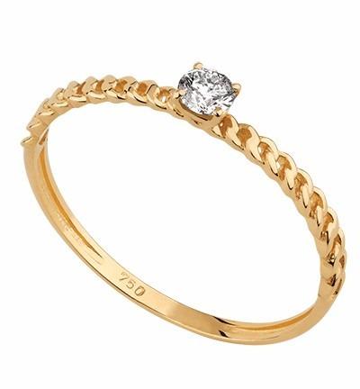 Solitário Correntinha Em Ouro 18k Com Diamante - Sol36