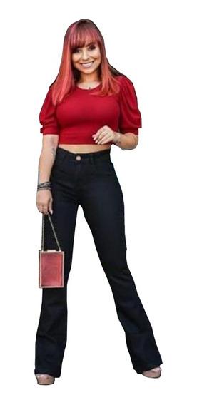 Calca Jeans Feminina Preta Cós Alto Blogueira Insta 2020