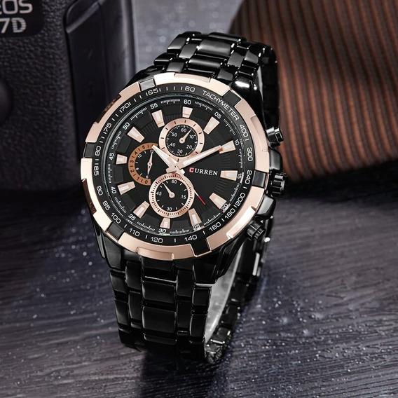 Relógio De Pulso Masculino Preto Luxo Pulseira De Aco