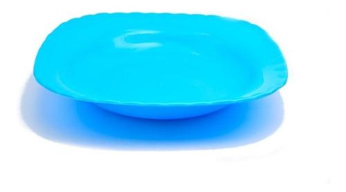 10 Platos Sopero Cuadrado Liso Plastico Colores 20cm Ant