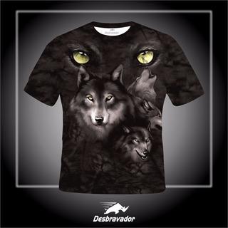 Camisa 3d Lobos Olhos Verdes