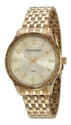 Relógio Mondaine Feminino Dourado Analógico 53649lpmvde1