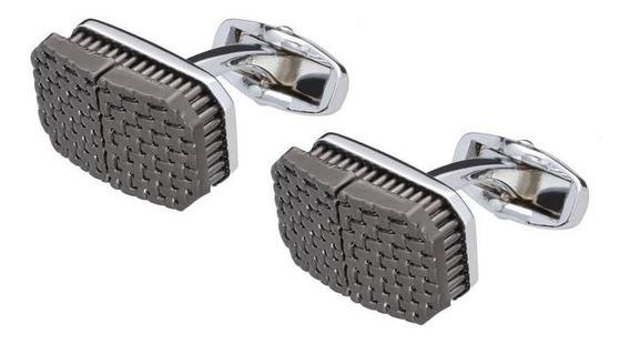 Mancuernillas Royal Flush Rectangulares Plata Con Textura Cr