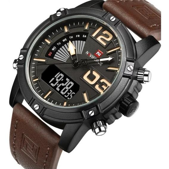 Relógio Naviforce 9095 Pulseira De Couro Original
