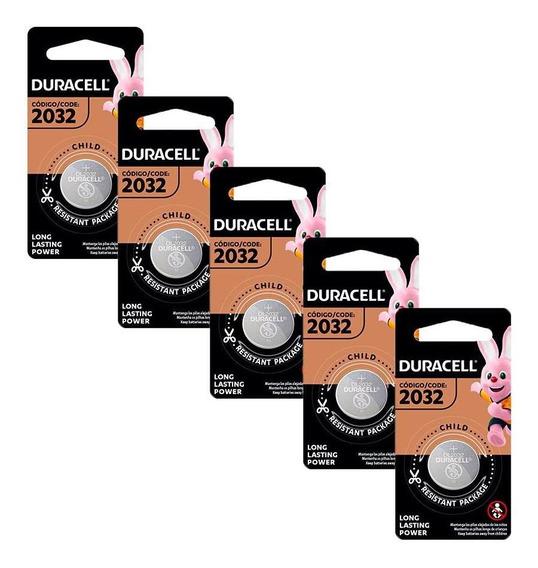 Kit De Pilhas Duracell Alcalina Moeda Cr 2032 - 5 Unidades