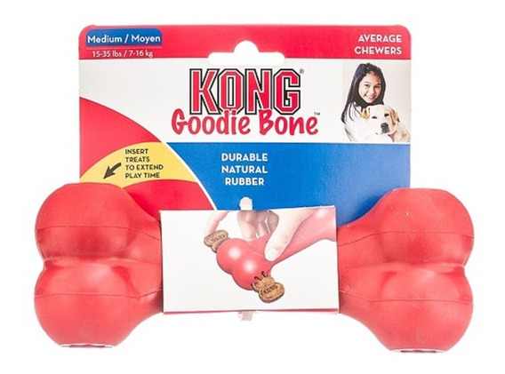 Kong Goodie Bone Médio Medium Brinquedo Borracha Osso Cães