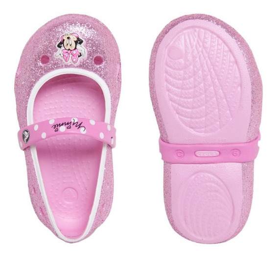 Sandalia Kids Sapatilha Rosa Com Gliter Crocs Original. T