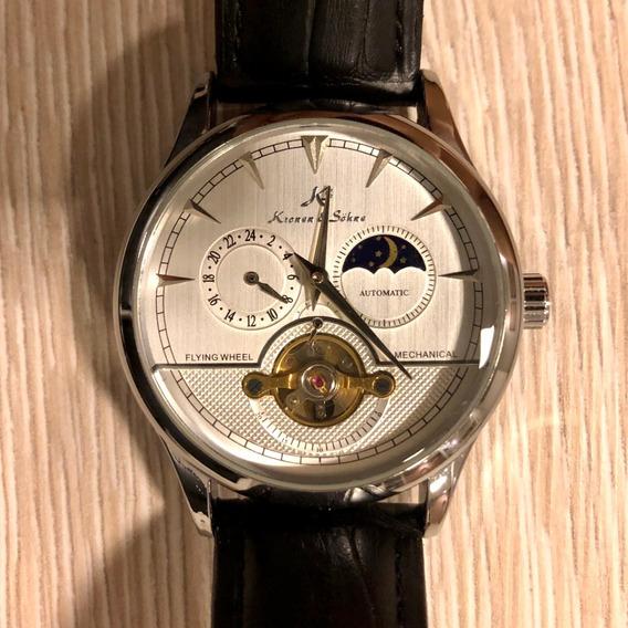 Relógio Automático Ks Luxury 24h Preto C/ Caixa Semi Novo