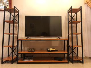 Rack De Tv + Columnas Estilo Industrial