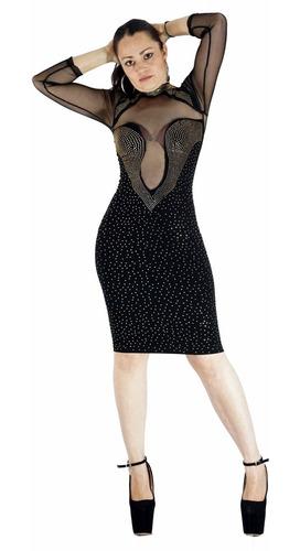 Vestido Corto Negro Con Transparencias Pedreria Antro Vc116