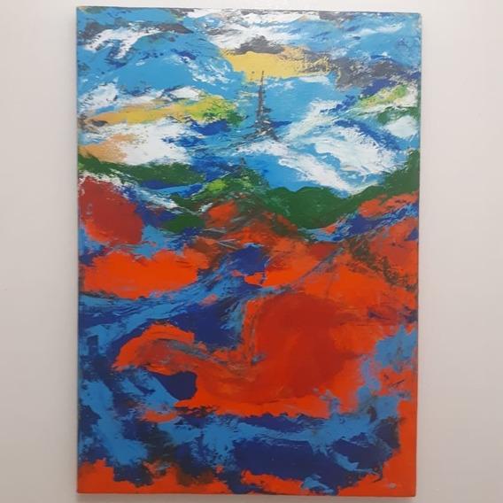 Quadro Pintura Abstrata 50 X 70 Cm