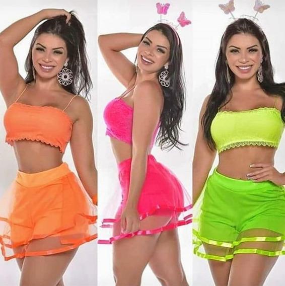 Conjunto Short Saia E Top Cropped Lançamento Carnaval 2019