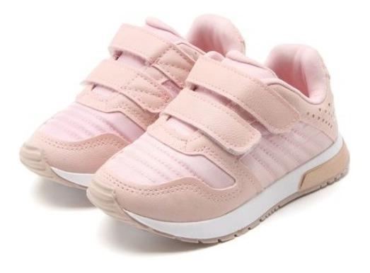 Tênis Infantil Klin Menina Baby Walk Rosa Original Velcro