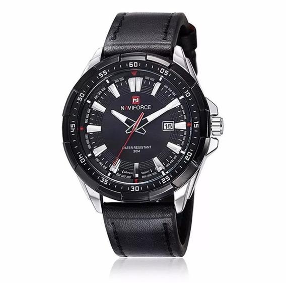 Relógio Masculino Naviforce Preto Couro 9056 Frete Grátis