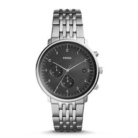 Relógio Fossil Masculino Ref: Fs5489/1pn Cronógrafo Prateado