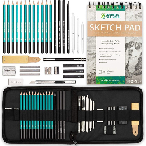 Set De Dibujo Drawing Set Xl 32 Piezas / Lapices Y Cuaderno