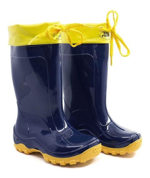 Bota Infantil Impermeável Azul Amarela Galocha C/ Amarra Pvc