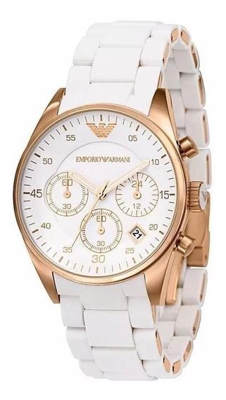 Relógio 0011g Empório Armani Ar5919 Branco C/ Caixa