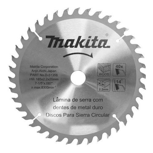 Imagem 1 de 1 de Disco De Serra 185mm(7-1/4 )20mmx40dentes Makita
