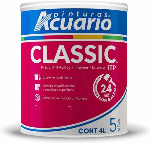 Imagen 1 de 2 de Pintura Vinílica Classic Acuario Galón 4 Litros Color Blanco