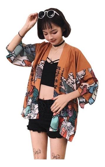 Las Mujeres Japonesas Kimono Abrigo Suelto Yukata Outwear To