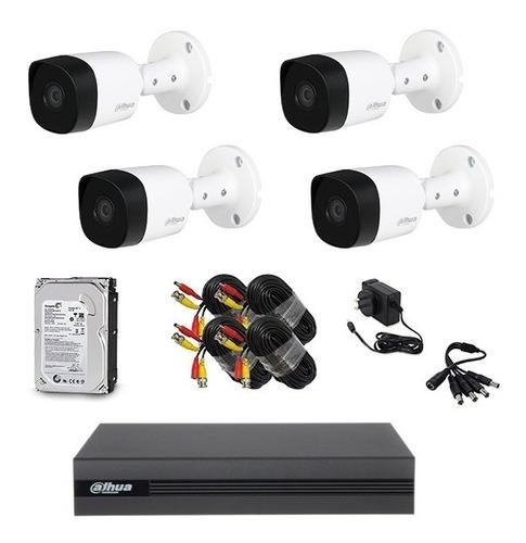 Kit Seguridad Dahua Cctv Dvr 4ch  + 4 Camara 2mp 1080p+disco