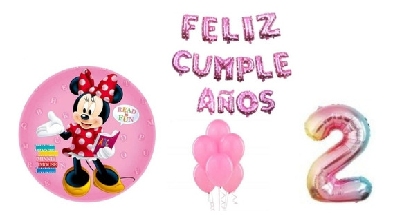 Globo Minnie X 4 + 10 Latex +frase + Numero 70cm