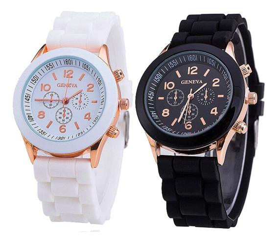 Kit 3 Relógios Feminino Geneva Pulseira Silicone