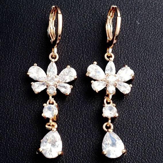 Brincos Feminino Pendente Flor Cristal Ouro18kplated 500