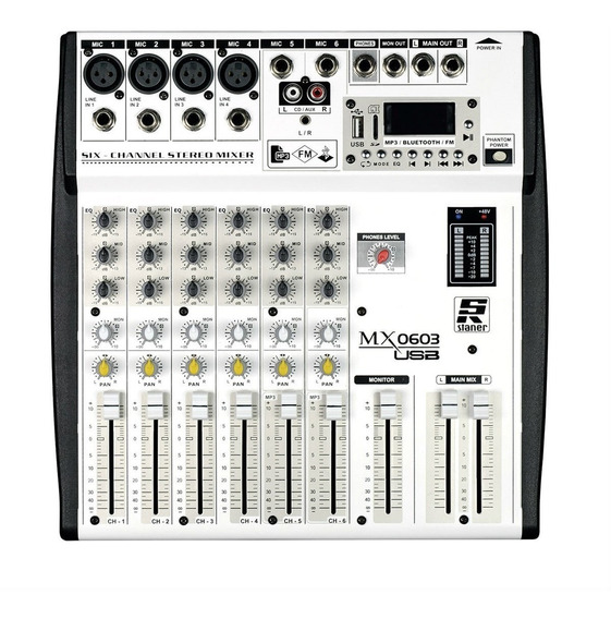 Mixer Mesa De Som 6 Canais Staner Usb/fm/bt Mx-0603