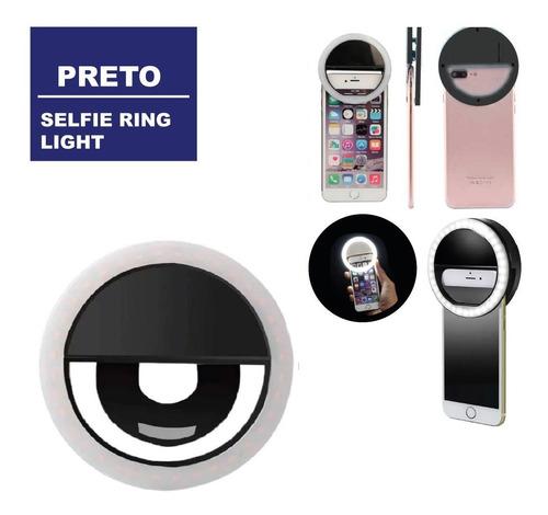 Clipe Anel Luz Pra Selfie Ring Light Flash Universal Preto