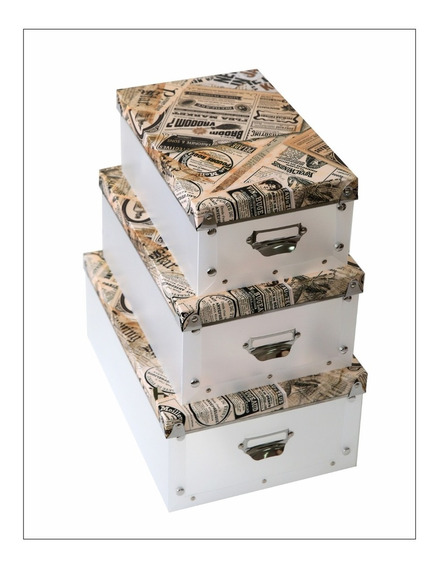 Set De 3 Cajas Organizadoras Old Fashion Tipo Nido