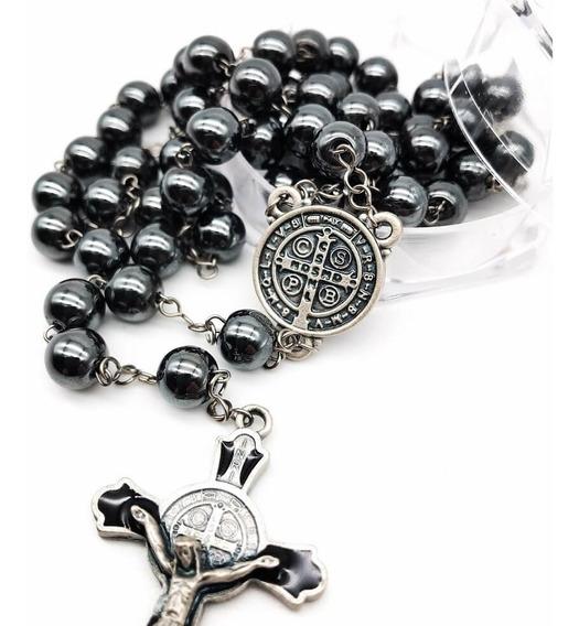 Terço De São Bento Hematita Com Crucifixo