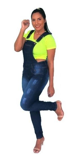 Macacão Calça Jardineira Jeans Comprida Feminina