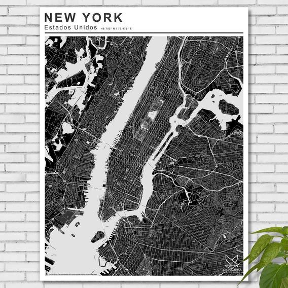 Mapa Ciudad De New York Blanco Y Negro 80cmx61cm