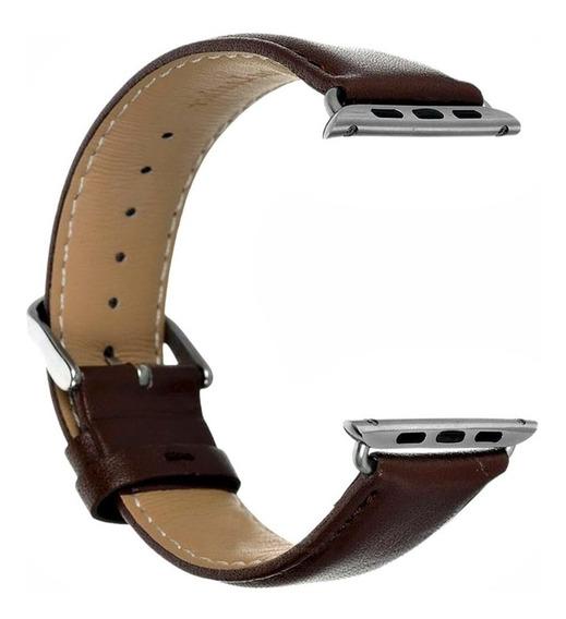 Pulseira Compatível Com Apple Watch E Iwo Em Couro Liso